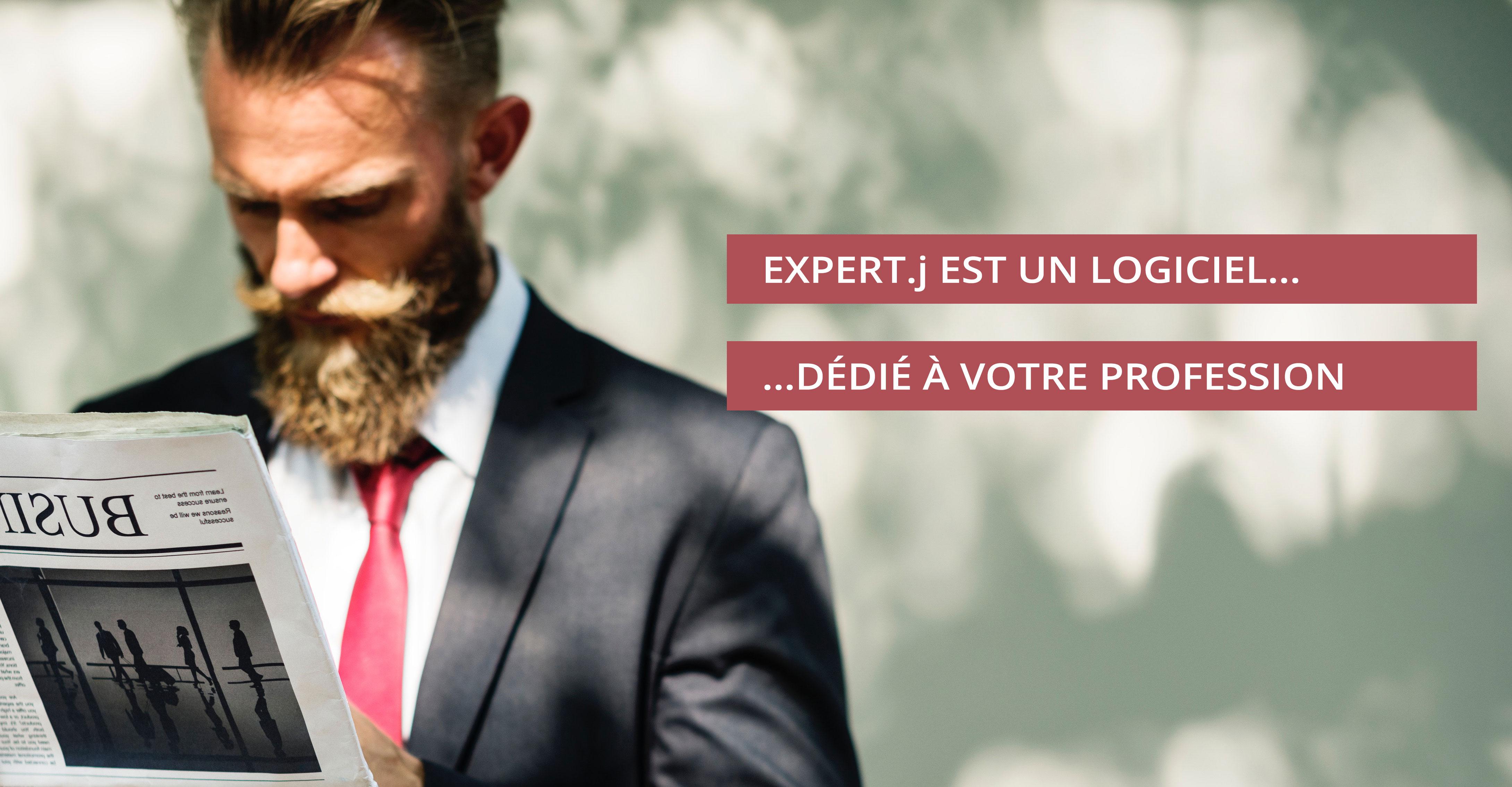 """Expert.j Slide 1/3 """"Expert.j est un logiciel dédié à votre profession"""""""