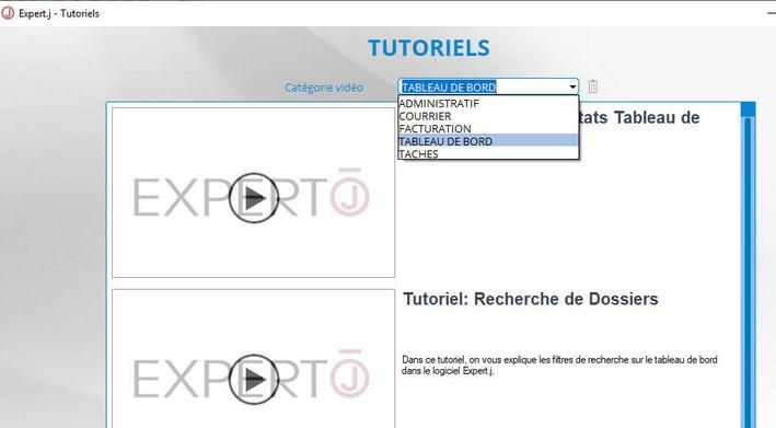 Expert.j : filtre par catégorie des tutoriels vidéo